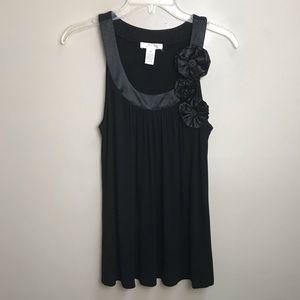 Kenar Black Sleeveless Top with Flower details M